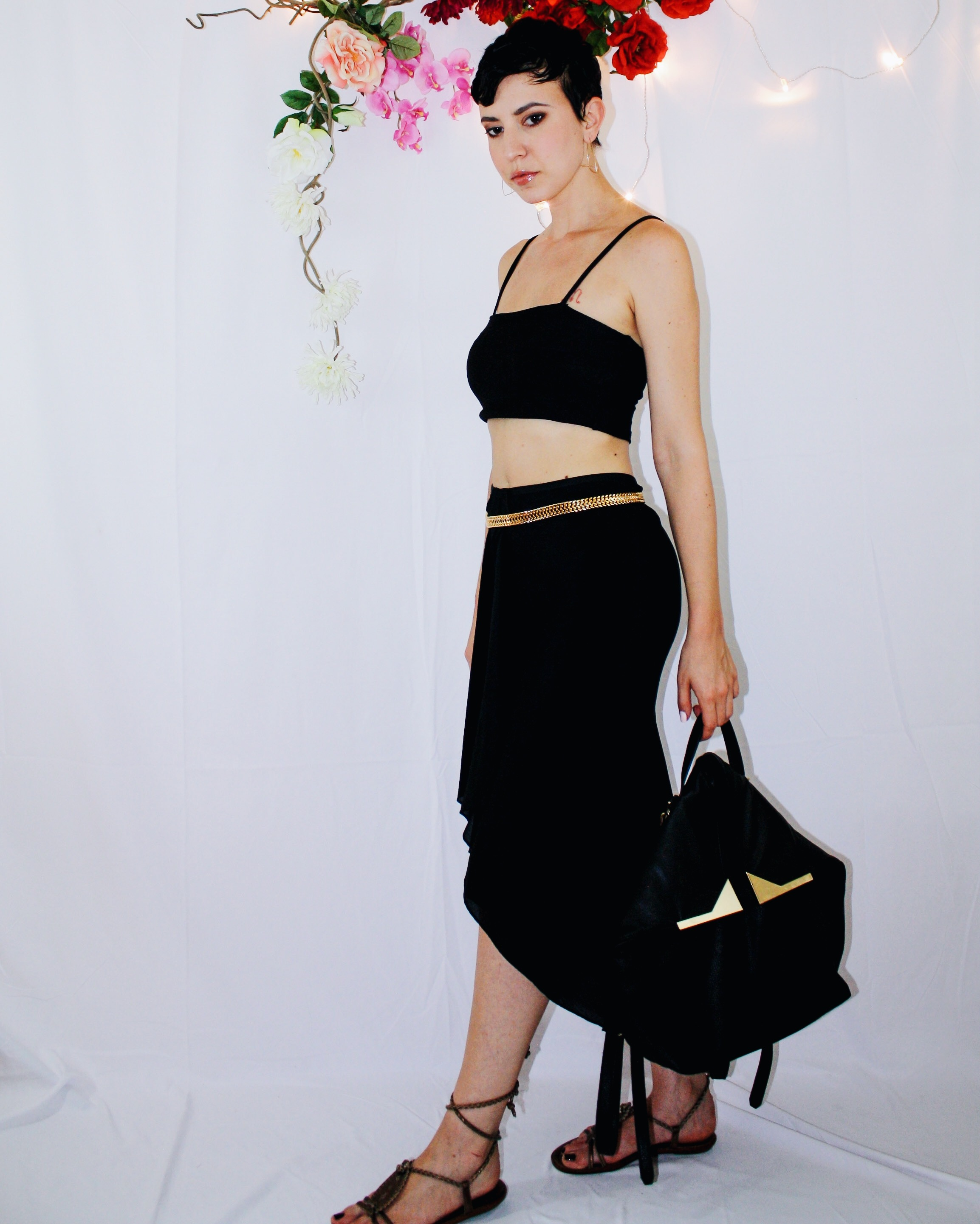 heatwave outfit waterfall skirt black crop top lace up sandal backpack 5