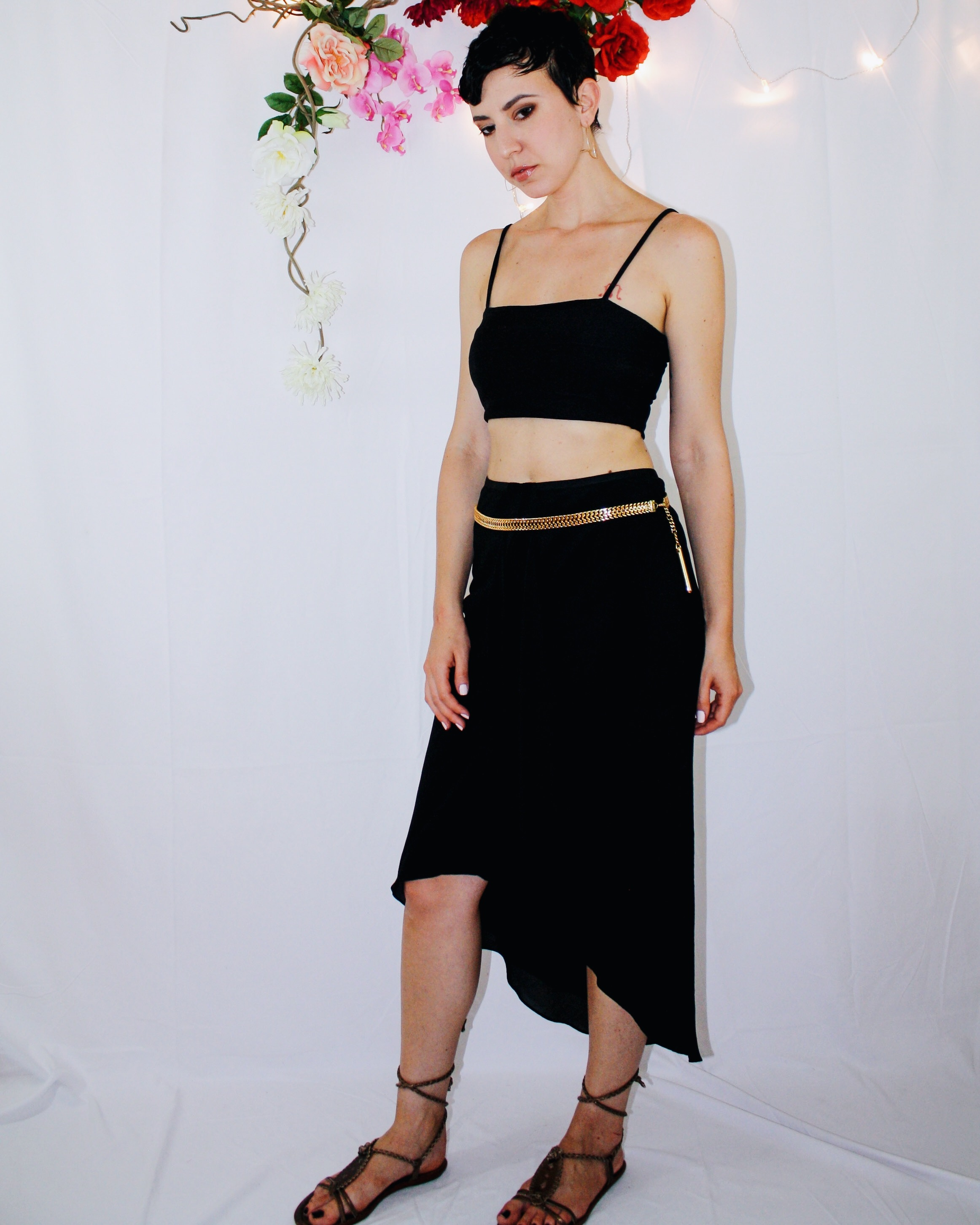 heatwave outfit waterfall skirt black crop top lace up sandal backpack 4