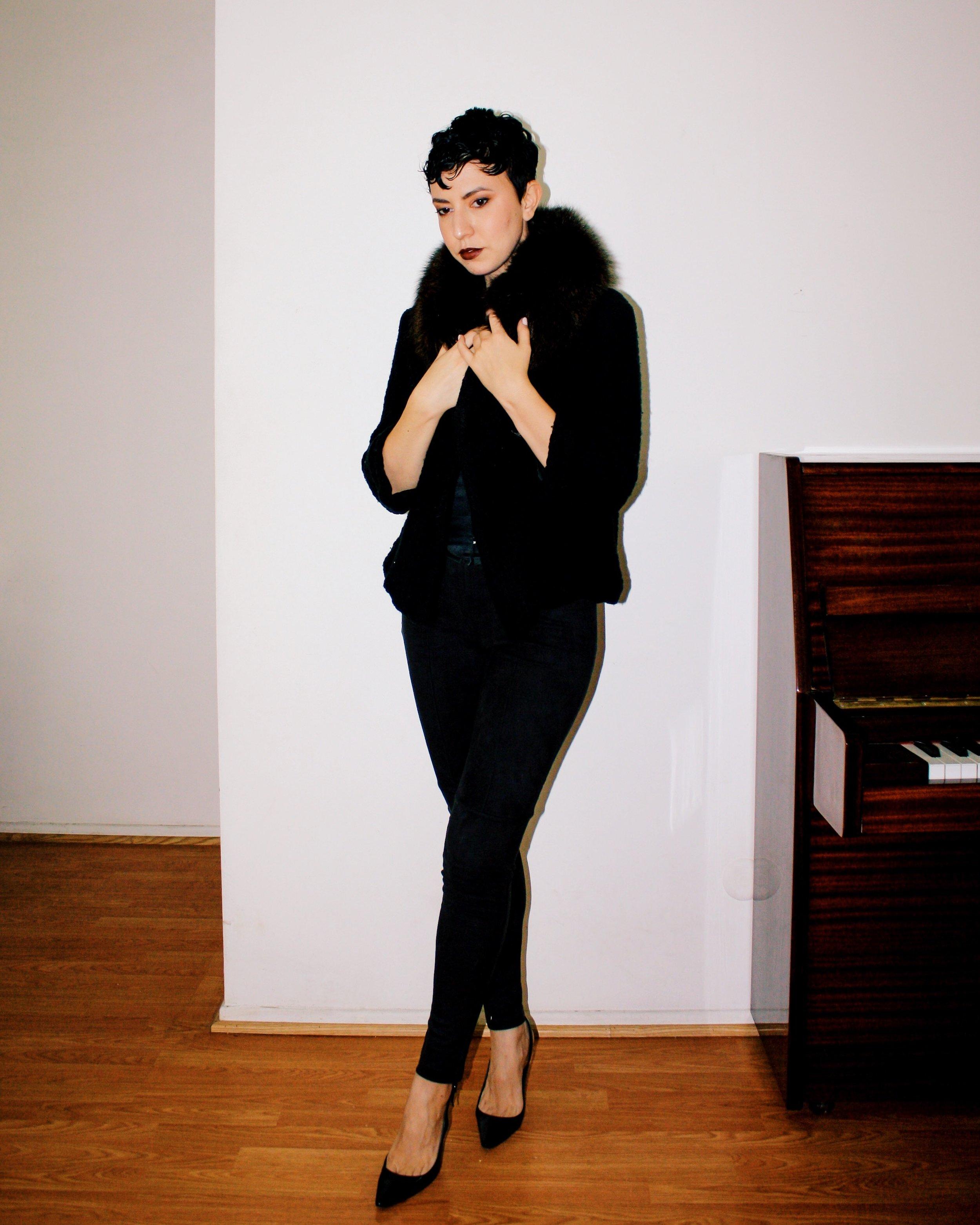 casual outfits manolo blahnik patent leather heels shoes suede pants piano white tank fur stole jacket corset belt 6