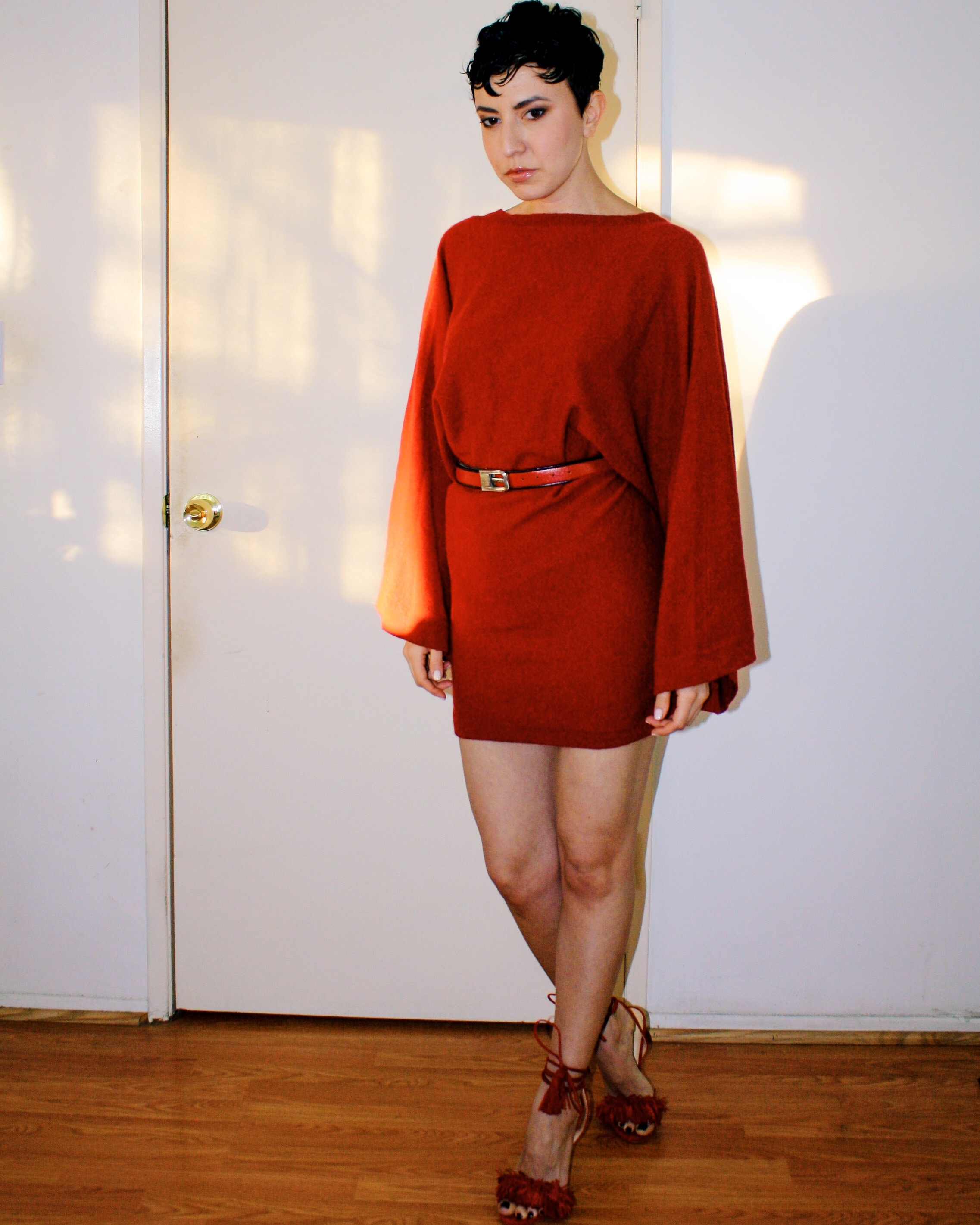 sweater dresses elizabeth and james red cashmere wool wild things sandal chanel kimono sleeve belt