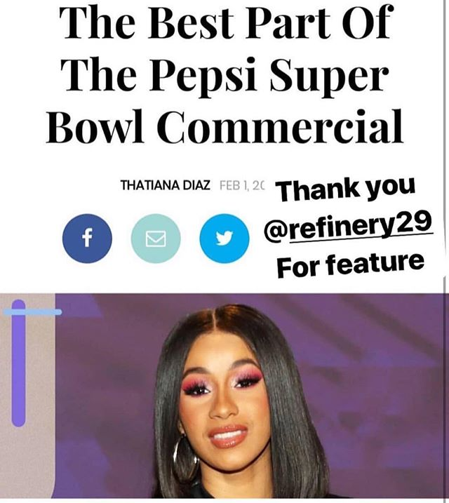 Thank you  Thatianna Diaz @refinery29 For feature me . The nails I did for Cardi B's Pepsi Super Bowl commercial using gel colors eternal midnight Red, Flawless White, and  from @lechatnails and Crystalfrom @dreamtimecreations #jennysecret #crystaladhesive #jennysecrettopcaot