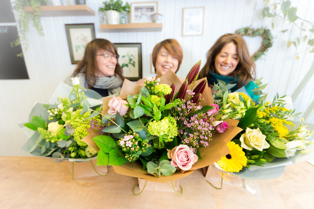 The Team… - The team at Linden Tree Flowers consists of Lindsay, Lucy and Susie. Together we have a wealth of floristry experience and a passion for all things floral. All three of us trained locally at Plumpton College, and have worked for various retail and events florists. We're the perfect team to take care of all aspects of floristry, whether it be a small thank-you bouquet, a corporate event or a lavish wedding. We love what we do and we love to work with our customers to create something that is just right. Visit us in the shop to pick our brains!