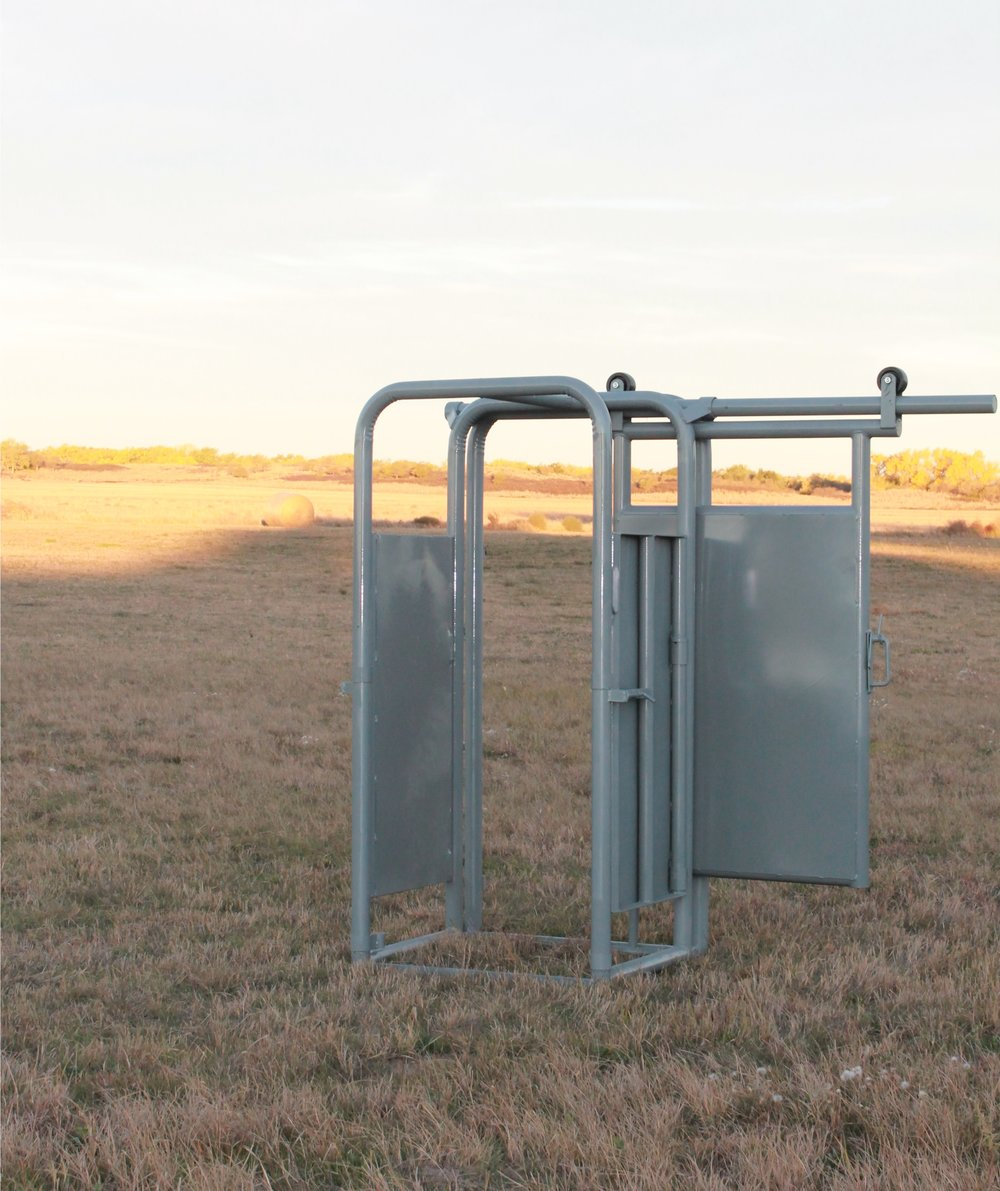 """Palpation Cage with Slide Gate - The palpation cage can be added to any Filson Chute. It is designed with 4' Sheeted doors on both sides which make it convenient for pregnancy testing, castrating, artificial insemination, etc. Slide gate can be assembled to slide right or left. Cowboy latch optional.Weight: 320 lbs 