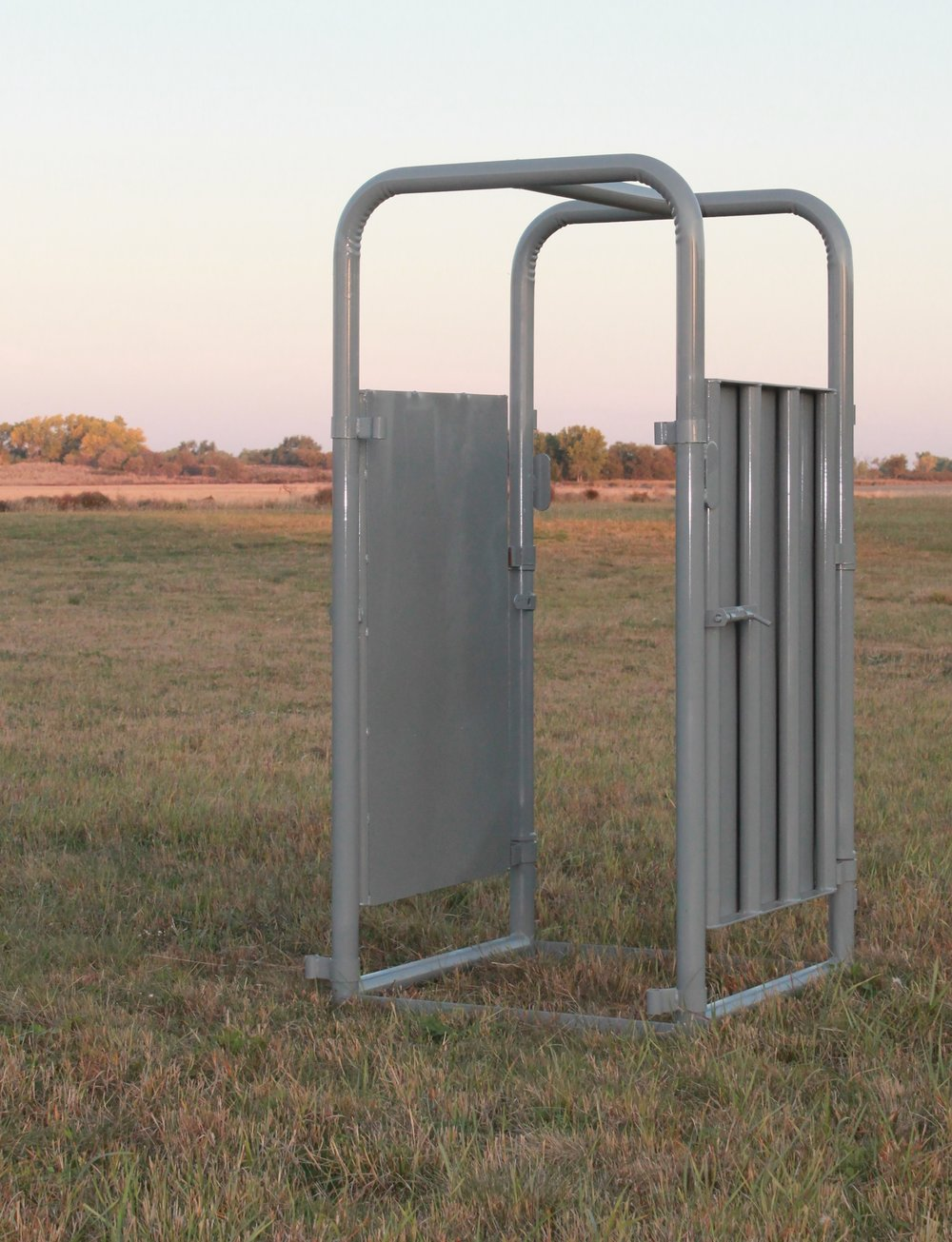 "- This palpation cage is a 2' extension to the chute, allowing for a safer work zone for the operator. It is designed with 4' sheeted doors on both sides which makes it convenient for pregnancy testing, castrating, artificial insemination, and also provides less stress for the animal. The door on this palpation cage swings inward shutting it off from the working Alley. Right or Left Hand Cowboy latch optional.Weight: 220 lbs | Dimensions: 38""W x 78""H x 37-1/2""D"