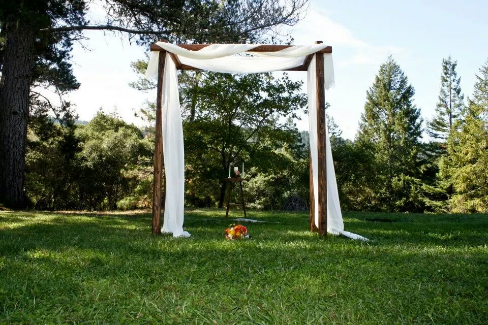 The wedding site at Indian Creek Inn ~ a simple wooden structure on a green lawn with the valley view behind
