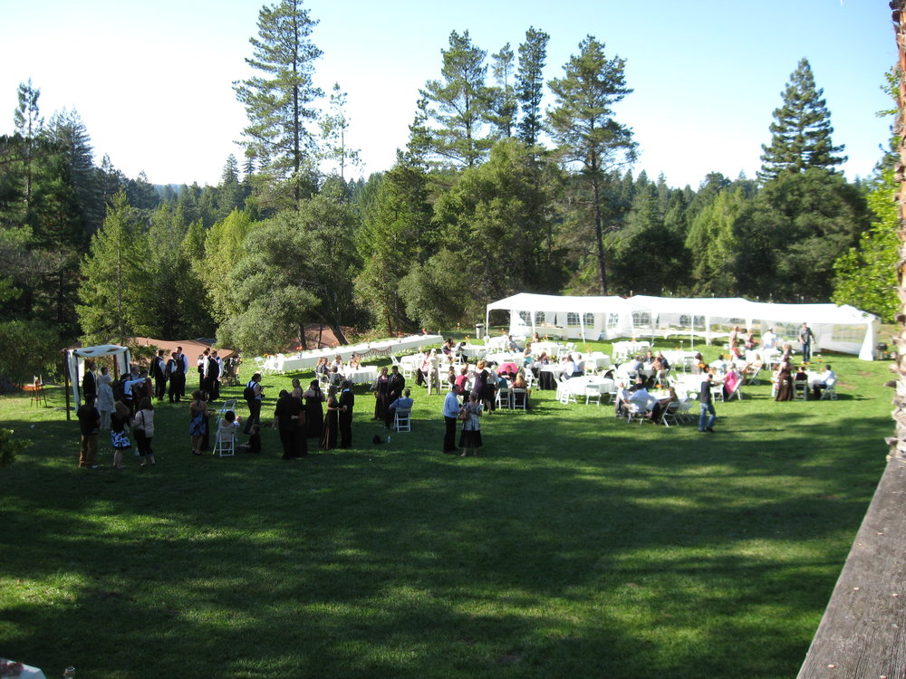 Extensive seating is available through local rental companies for weddings at Indian Creek Inn in Anderson Valley
