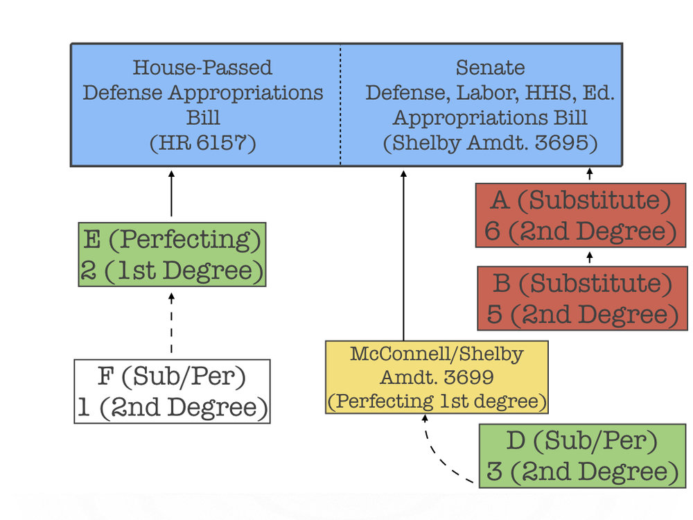 Once pending, the McConnell amendment prevents senators from offering amendments at branches  A and  B on the right side of the tree.