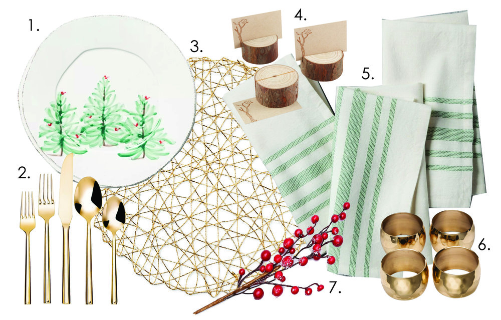 1.  European Holiday Dinner Plates   2.  Gold Silverware   3.  Gold Placemat   4.  Rustic Wood Place Card Holders   5.  Green Striped Napkins   6.  Hammered Gold Napkin Rings   7.  Berry Sprig for Accent  (to be honest… I can't remember where I found the berry sprig. So I've linked a similar one. Mom brain.)