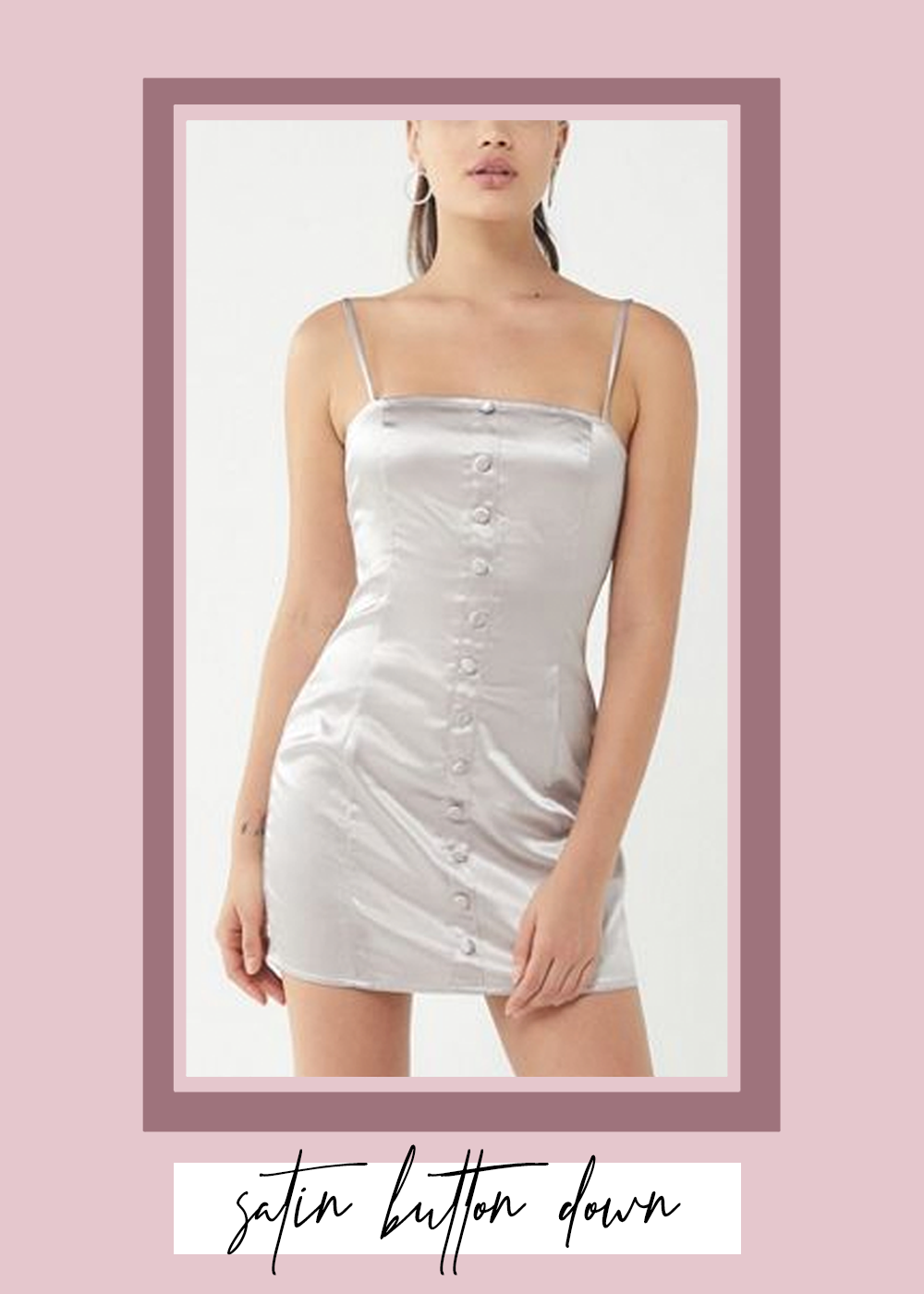 001. - UO Satin Button Front Mini DressUrban Outfitters // $59