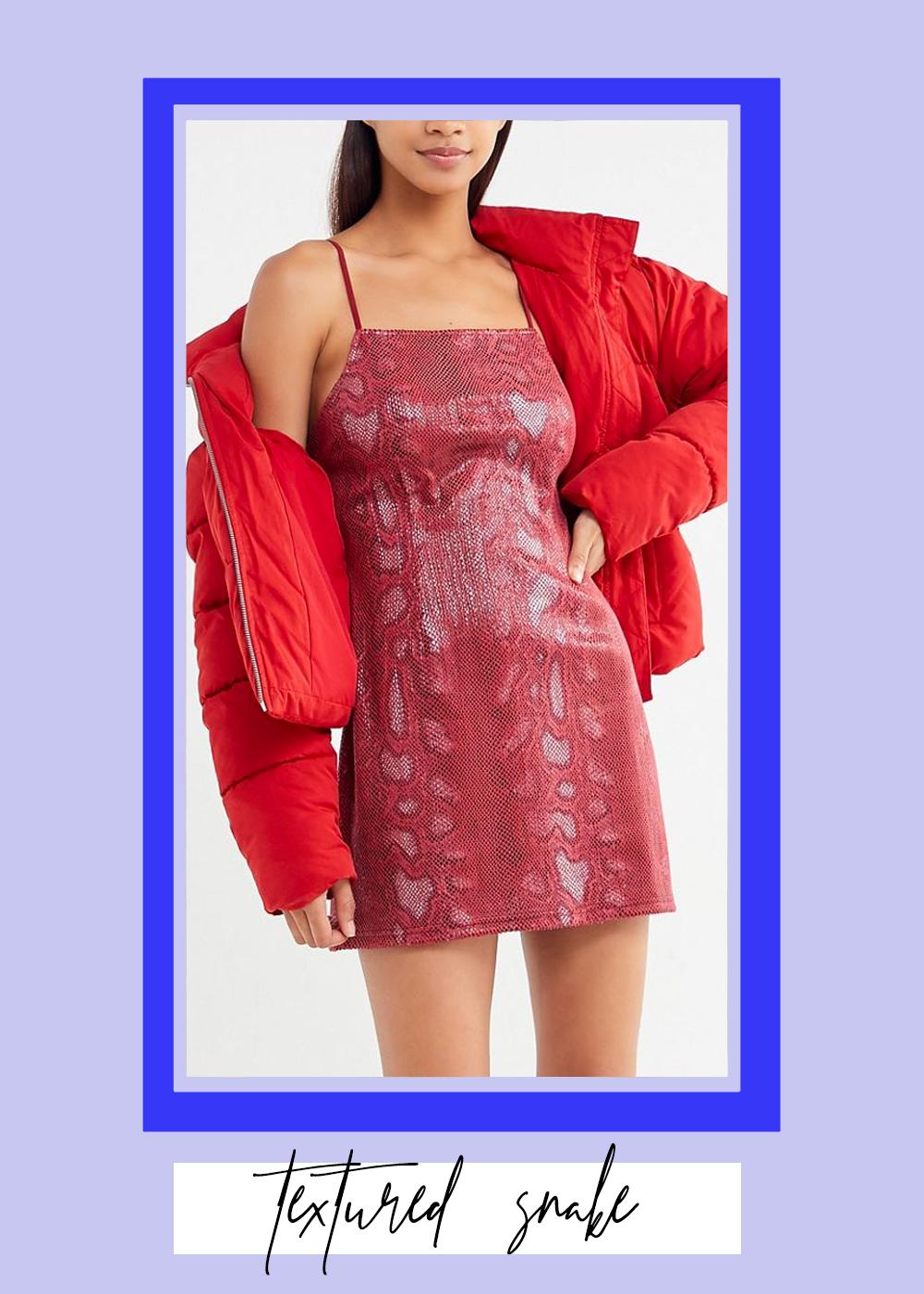 002. - Textured Snake Mini Dress // $59