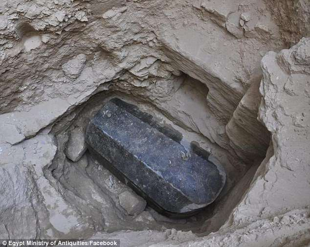 The massive stone casket was buried more than 16 feet beneath the surface alongside a huge alabaster head – likely belonging to the man who owned the tomb