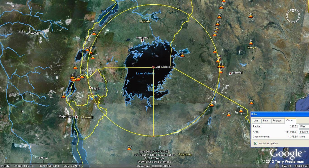 This impact formed Lake Victoria and a part of the Great Rift Valley. The primary seismic circle was at 220 miles radius from the center point. This impact cracked the crust of the Earth along this radius so that a number of volcanoes formed around its rim. It was probably a low density, comet type of object perhaps about the size of the lake itself. The reasoning behind this is that the depression of the lake is large. If the impactor was a hard rock asteroid of this size, the seismic circles would be far more pronounced, something on the order of the   Himalayan impact   or greater.