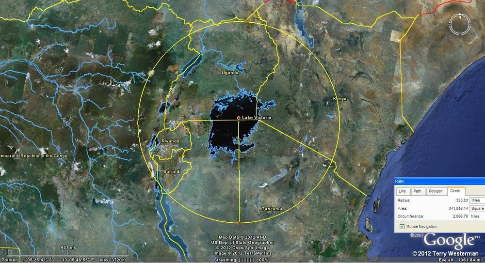 Lake Victoria seismic circle at 330 miles radius.
