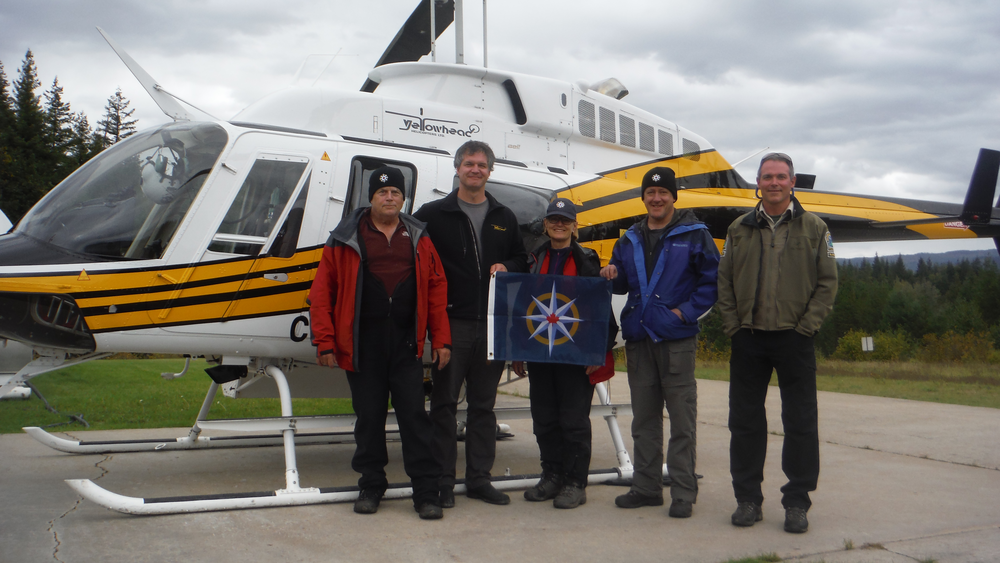 Members of the team that conducted the preliminary on-site exploration of the cave in Wells Gray Provincial Park include (left to right): John Pollack, Ken Lancour, Catherine Hickson, Lee Hollis and Tod Haughton. Chas Yonge is not pictured but assisted the team remotely. (Photo courtesy Catherine Hickson)