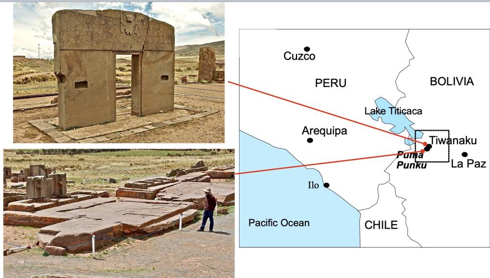 Tiwanaku Gate of the Sun and Pumapunku megalithic geopolymer sandstone slabs.