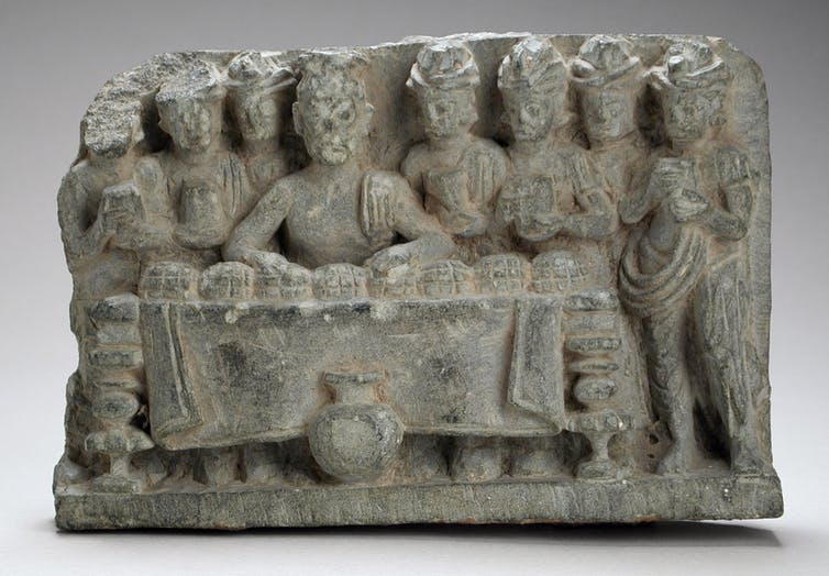 A sculpture depicting the distribution of the Buddha's relics. Los Angeles County Museum of Art/Wikimedia Commons