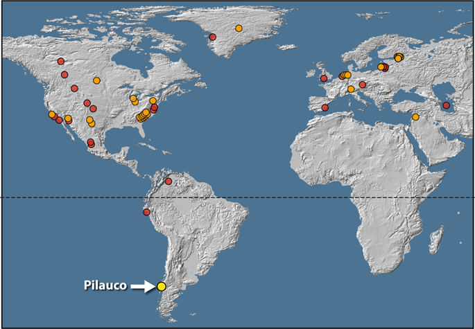 Location map showing 53 YDB sites. Orange dots represent 28 sites with peaks in both platinum (Pt) and other impact proxies such as high-temperature Fe-rich spherules. Red dots represent 24 sites with impact proxies but lacking Pt measurements. Yellow dot indicates the Pilauco site. North and Central America, n=30 sites; South America, n=3; Greenland, n=2; Europe, n=16; and Asia, n=2. Map source: USGS, Sioux Falls, accessed October 17, 2011; and Japan ASTER Program (2003), ASTER Global Digital Elevation Map, GDEM-10km-BW, accessed October, 2017 from https://asterweb.jpl.nasa.gov/gdem.asp , 10.5067/ASTER/ASTGTM.002. Modified with Adobe Photoshop CC2014 (adobe.com/products/photoshop.html).