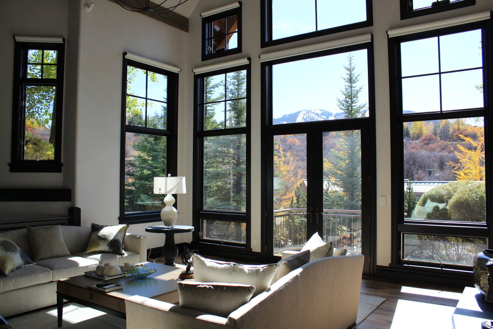 black window shades grey black delrin brackets are virtually invisible against the black window molding and with no bulky fasteners or visible screws sleek shade tube can motorized shades rocky mountain views geiger modern