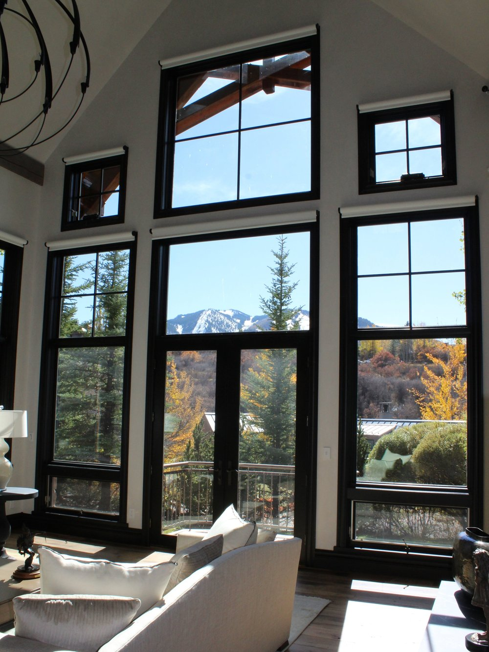 Aspen Home with Mountain Views and Custom Motorized Window Shades by J Geiger