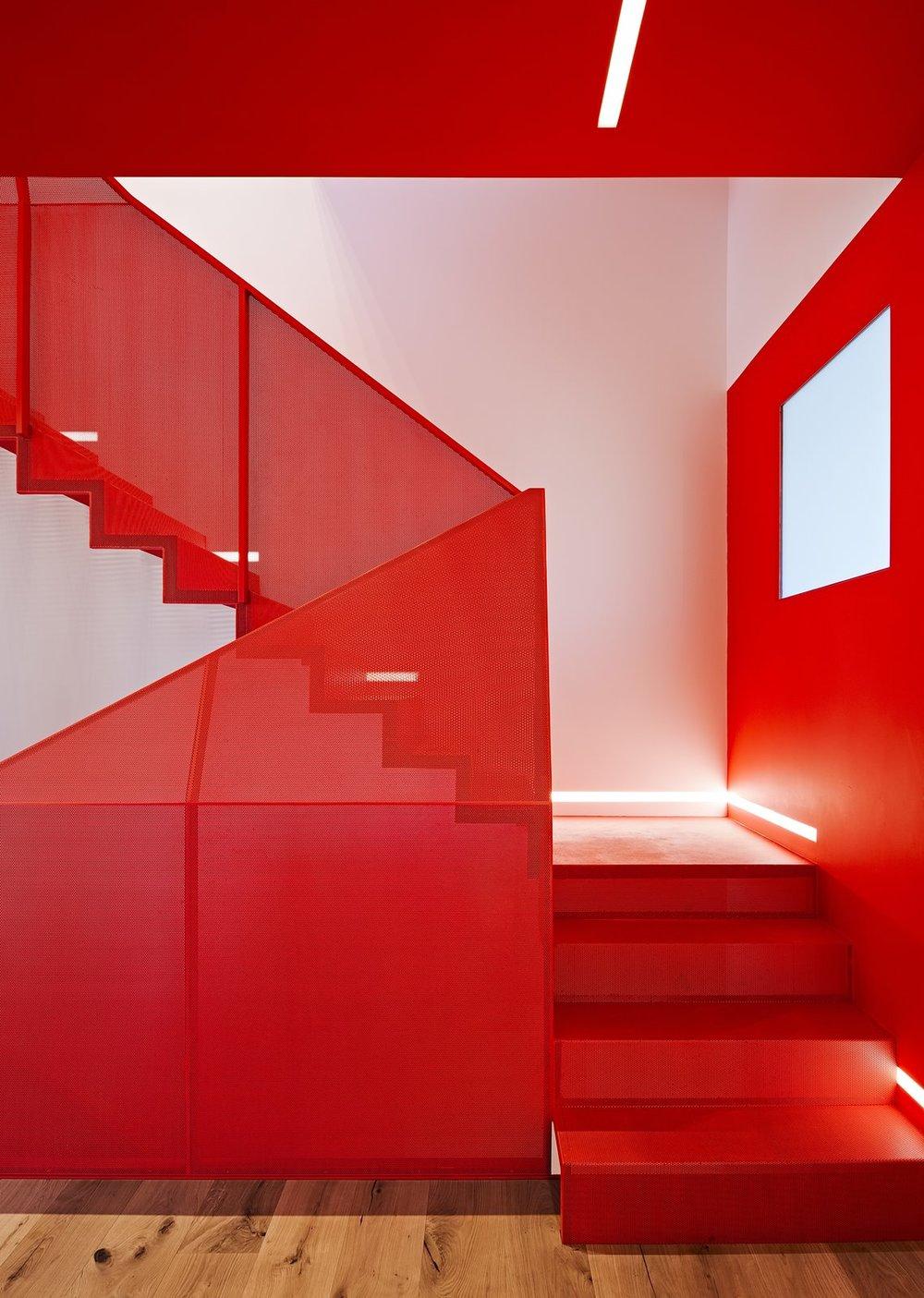 Perforated Metal Staircase Benjamin Moore Flame 2.jpg