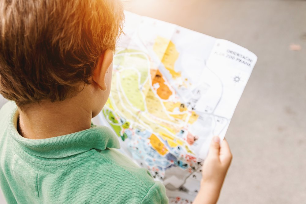 Boy looking at a map picture
