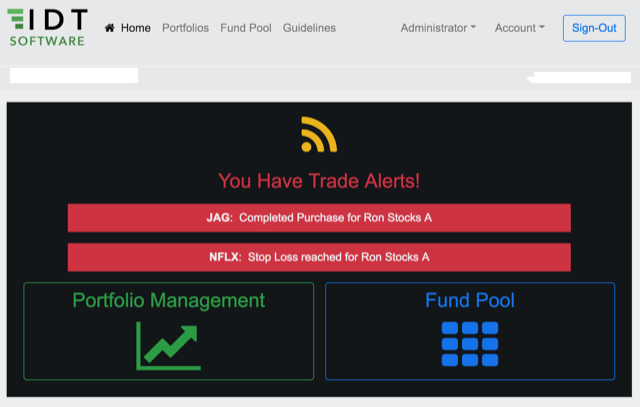 Once logged into your profile here is what you will see if you have a trade alert.