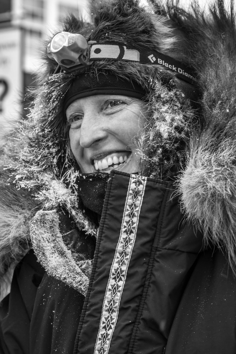 Kristin Knight Pace at Dawson City checkpoint on the 1,000-Mile Yukon Quest International Sled Dog Race. Photo by Scott Chesney.