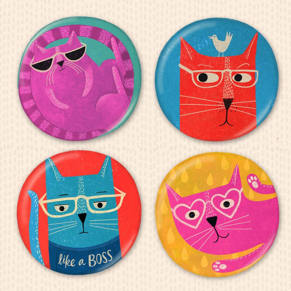 'Crazy Cats' - Button Badges