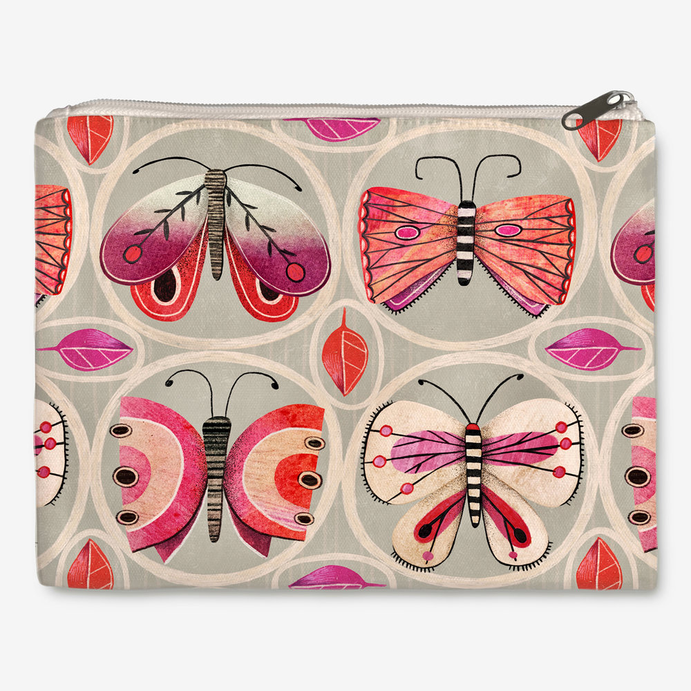 'Butterflied' - Zipper Pouch