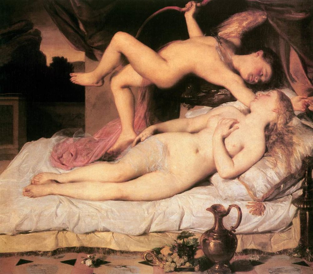 """Károly Brocky """"Cupid and Psyche,"""" 1850-1855. Oil on canvas. Cupid, draw back your bow and let your arrow flow straight to my lover's heart for me…"""