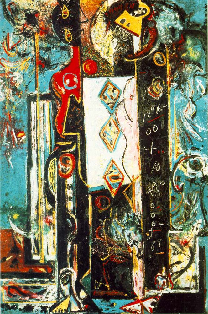"""Jackson Pollock, """"Male and Female,"""" 1942. Oil on canvas. I guess it's kind of like a men are from Mars, women are from Venus thing."""