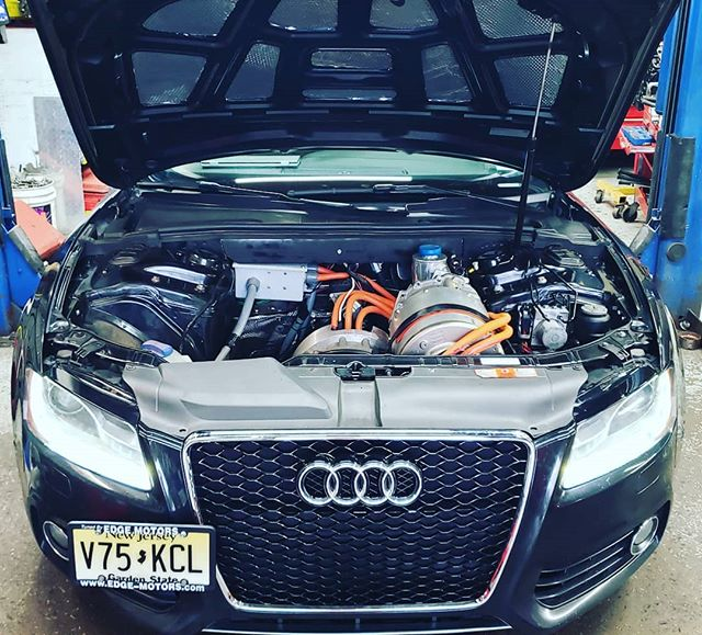 They say it's a beast, but I don't hear a thing  #audi #s5 #tesla #performance #quattro #electricconversion  #electric