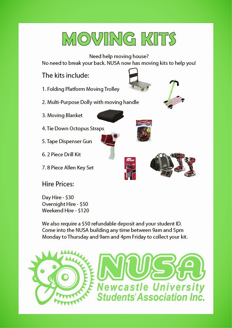 Moving Kits and Trailer - NUSA offers both an enclosed trailer and moving kits to hire to help out with moving house, or any other task that may require these tools. The hire prices are the same for both the trailer and kits. Come into the building and book in person.