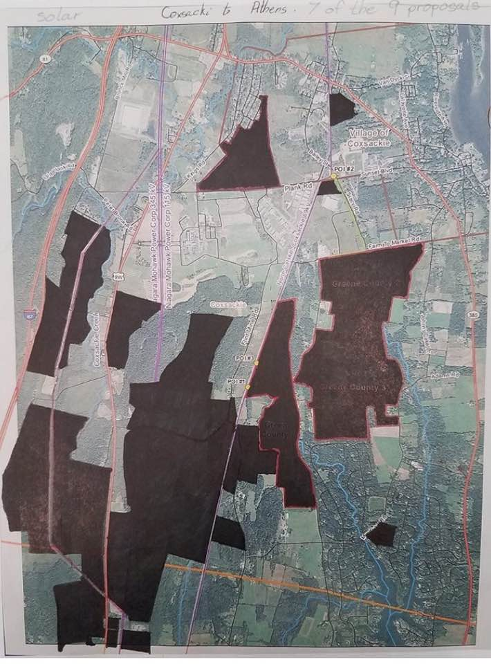 Map showing seven of the nine solar projects proposed for Coxsackie. The marked areas are denote land  secured  by solar developers. Actual panel locations within the marked areas are subject to change.