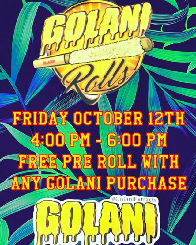 Come from 4-6 to receive a free Golani with a donation towards any Golani product! ✨ Don't miss out on this BOMB deal 💣  @golani_rolls 🧡 #golanirolls #weed #prerolls #pasadena
