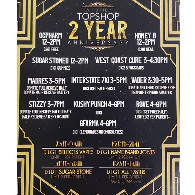 ANNIVERSARY PARTY IS GOING TO BE LIT💕 MAKE SURE YOU STOP BY AND CATCH YOUR FAVORITE VENDOR🤗 EVERYONE WILL BE HERE😎 #cannabiscommunity #kushypunch #rovebrand #interstate710 #honeybcbd #cannabisgirls #smokersclub #kushstock #stiiizy #sugarstone #vaderextracts #ocpharm #stoner #dankmemes #whittiertopshop #concentratecommunity #waxofinstagram