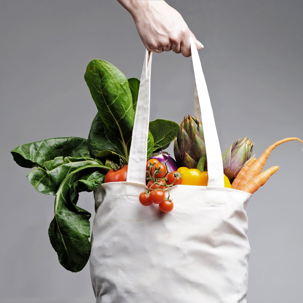 Tote and veggies