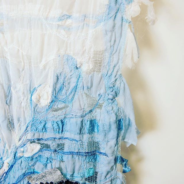 Hand dyed silk sewn with Rayon and silk thread and hand caught with cotton. . #textileartist #textileart #silk #lace #rayonthread #sea #mclarenvale #shoplocal #seainspiration
