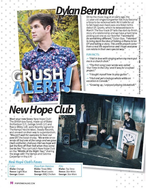 Crush Alert! Popstar! Magazine Print Feature.