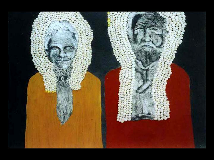 Mary and John Drummond. Picture by A. Rowland ( chalk, white snails, ochre and blackboard paint) 2001, Greenough, WA