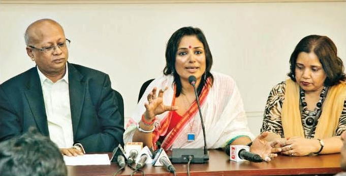 Addressing the media as BRAC's Goodwill Ambassador, 2013.