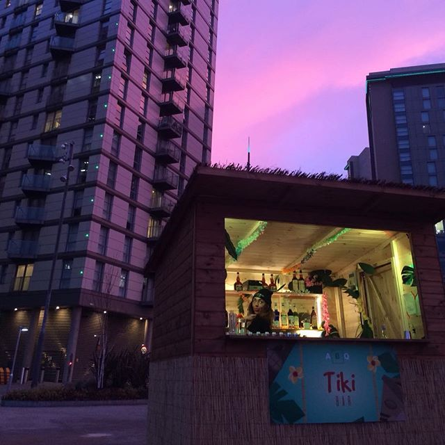 Look at the sky. It's almost the colour of our stuff. We also have a tiki bar for you guys outside to drink and be merry. Before or after our session! #abqmanchester #cocktails #tiki #manchester