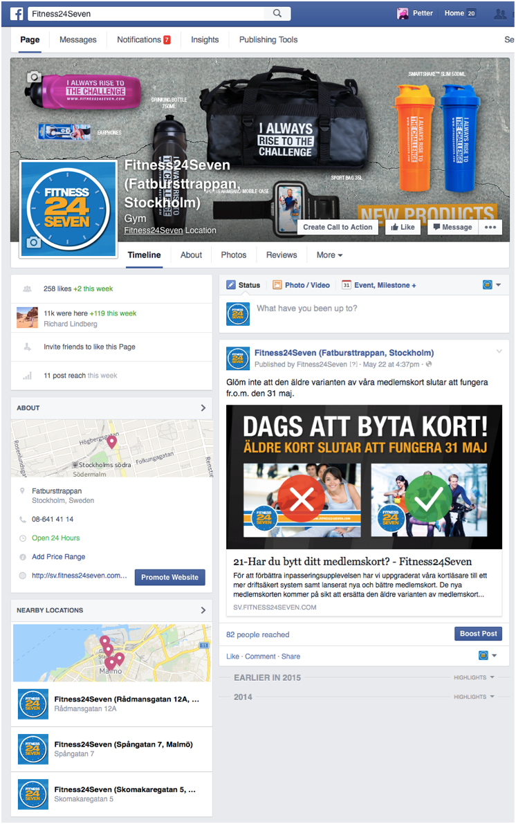Fitness24Seven's new genuine location pages; with branding, contact information and nearby locations