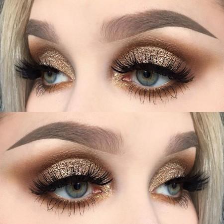 Maquiagem Marrom Com Dourado 1