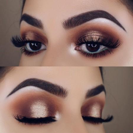 Maquiagem Marrom Com Dourado 12