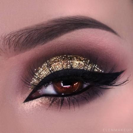 Maquiagem Marrom Com Dourado 13