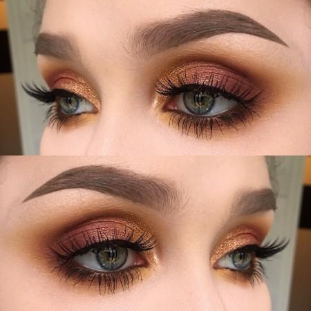 Maquiagem Marrom Com Dourado 15