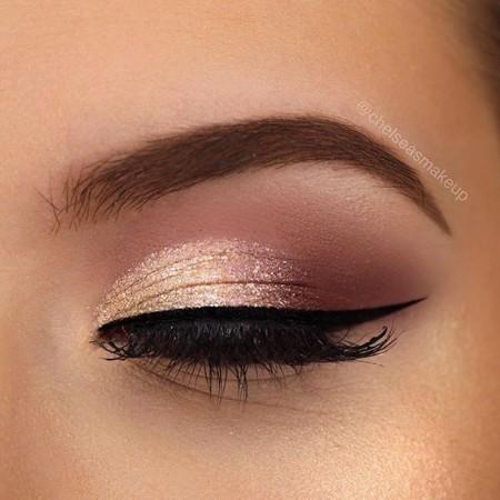 Maquiagem Marrom Com Dourado 2