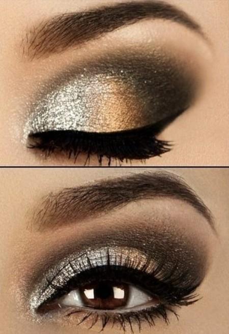 Maquiagem Marrom Com Dourado 4