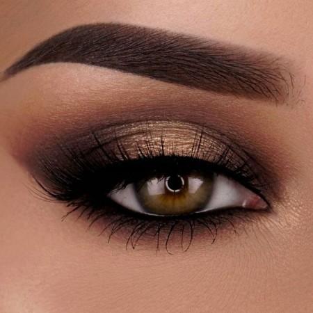 Maquiagem Marrom Com Dourado 6